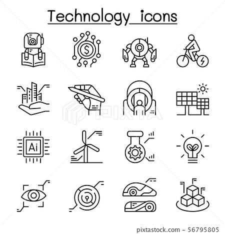 Technology icon set in thin line style 56795805