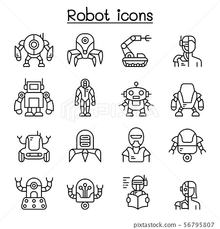 Robot, AI icon set in thin line style 56795807