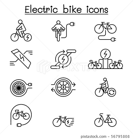 Electric bike icon set in thin line style 56795808