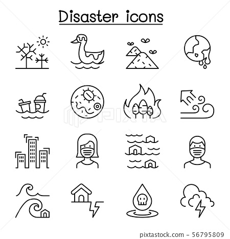 Disaster, pollution icon set in thin line style 56795809