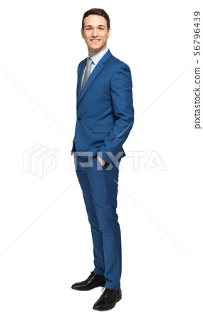 Smiling young manager portrait full length 56796439