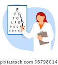 Doctor oculist pointing letters at eye chart 56798014