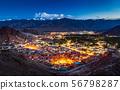 Aerial view of Leh city at night, Ladakh, India 56798287
