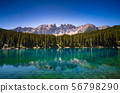 Karersee lake in the Dolomites, South Tyrol, Italy 56798290