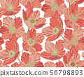 Seamless pattern beautiful red coral flowers background, stained glass style 56798893