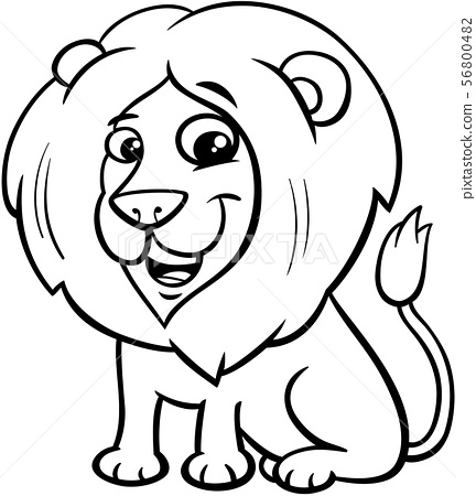 happy lion animal character cartoon color book 56800482