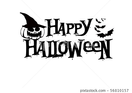 Happy Halloween lettering with pumpkin and bat  56810157