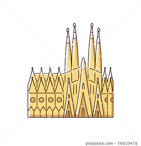 Famous Barcelona landmark building - Sagrada Familia flat yellow icon isolated on white background 56810478