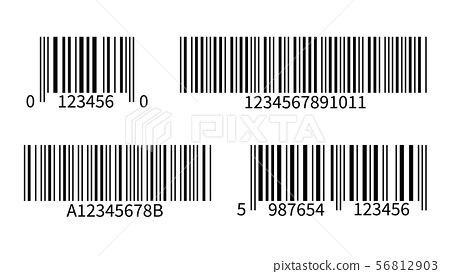 Product code. Line bar stickers with barcode for scan uniquecode bars retail reader vector isolated 56812903