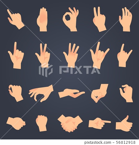 Hand position set. female or male hands holding gesture opening somethin and touching pose vector 56812918