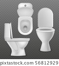 Realistic toilet bowl. White toilet basin, clean lavatory bathroom ceramic bowls group top, side and 56812929