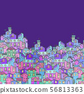 Hand-drawn background with colorful doodle houses. 56813363
