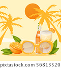 Tropical vacation banner vector illustration. Piece of orange and bottle of drink or juice with 56813520