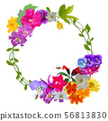 Garland of colorful realistic flower 56813830