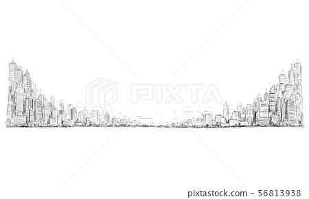 Vector Artistic Drawing Illustration of Generic City High Rise Cityscape Landscape with Skyscraper 56813938
