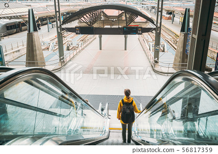Oslo, Norway. Young Adult Caucasian Woman Visiting Oslo Central Station Railway Station. Woman 56817359