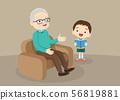 grandparents with grandchildren reading 56819881