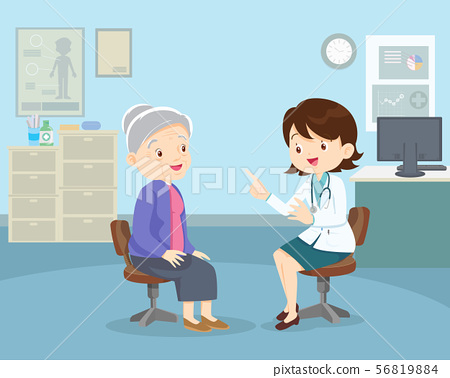 doctor helps check grandmother 56819884