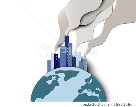 Smoke pollution from city on globe, global warming 56821666