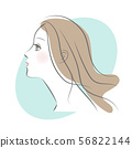 긴 머리의 여성의 옆모습 56822144
