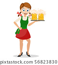 Girl holding on a tray two glasses of beer,a 56823830