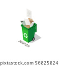 Isometric dustbin full of recyclable waste papers 56825824