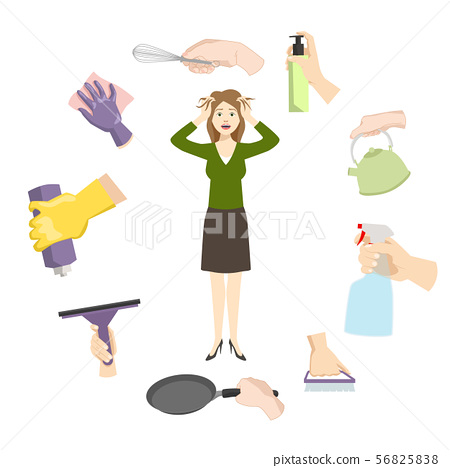 Housewife woman stress from daily home burdens and problems vector illustration. Woman exhausted in 56825838