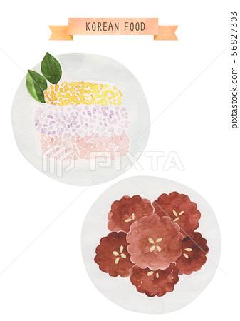 한국 음식 수채화 - 한과 56827303