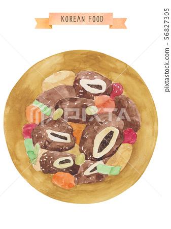 한국 음식 수채화 - 갈비찜 56827305