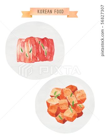 한국 음식 수채화 - 김치 56827307