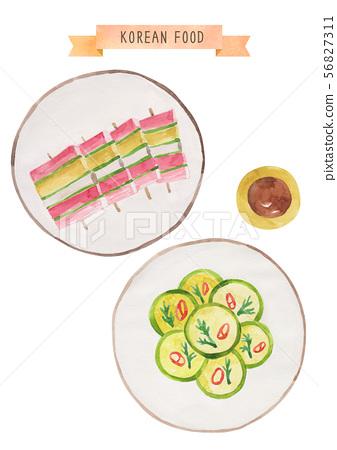 한국 음식 수채화 - 산적꼬치, 호박전 56827311