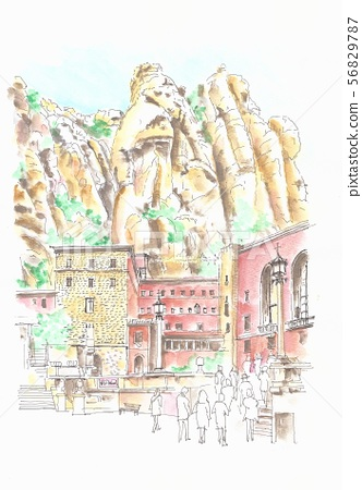 European streets, Spain, Barcelona, Montserrat Cathedral and Mt. 56829787