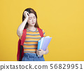 stressed  female young student holding books 56829951
