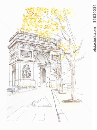 Arc de Triomphe in Paris, France and Paris 56830036