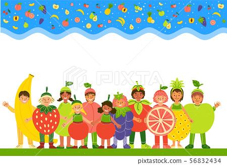 Kids in fruit costumes flat vector illustration 56832434