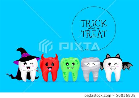 Cartoon spooky tooth in Halloween costumes.  56836938