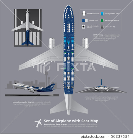 Set of Airplane with Seat Map Isolated Vector 56837584