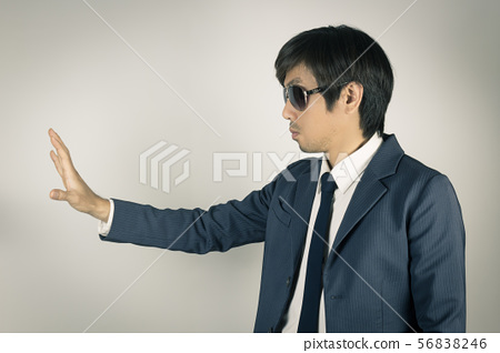 Young Asian Portrait Businessman with Stop Hand 56838246