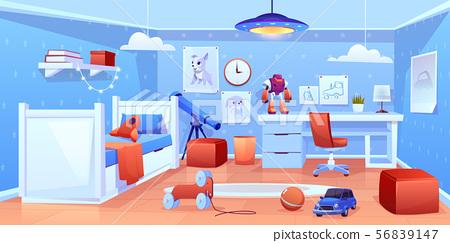 Little boy cozy bedroom interior cartoon vector 56839147