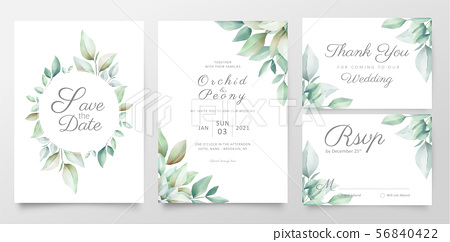 Floral wedding invitation card template set - Stock Illustration ...