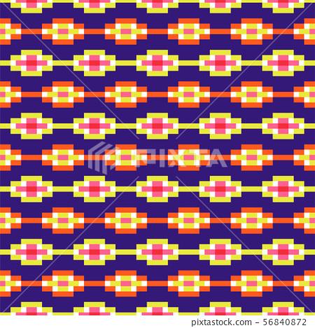 Aztec geometric seamless blue pattern pixel blocks shapes texture. 56840872