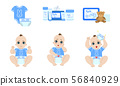 Cute Baby Daily Routine Set, Cosmetics and Clothing for Newborn Care Vector Illustration 56840929