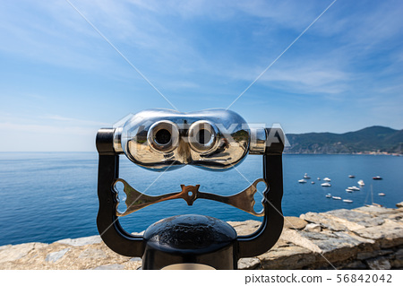 Coin operated binoculars on the seascape Vernazza 56842042