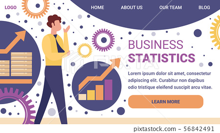 Business Statistics Horizontal Banner. Businessman 56842491