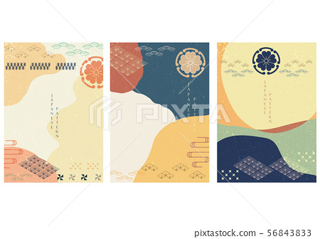 Japanese template vector with Asian icons decorate 56843833
