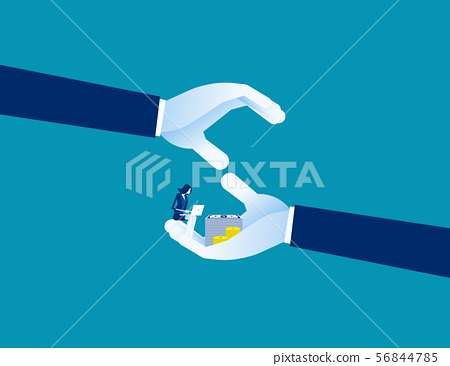 Human hands shielding profit representing 56844785