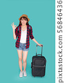 Beautiful young asian woman pulling suitcase 56846436