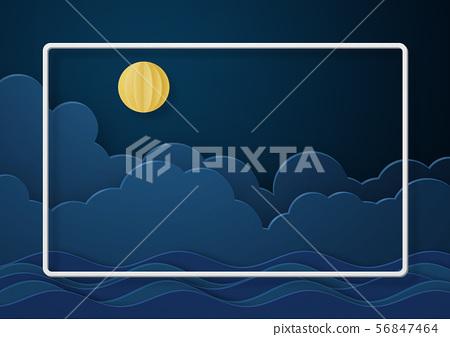 종이 공예 - 보름달 - 구름 - 밤 - 밤하늘 56847464