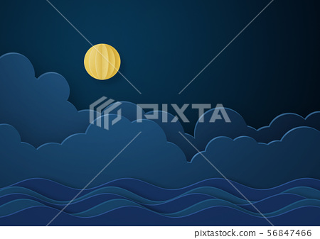 종이 공예 - 보름달 - 구름 - 밤 - 밤하늘 56847466