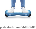 Man stand on blue hyro scooter isolated 56850601
